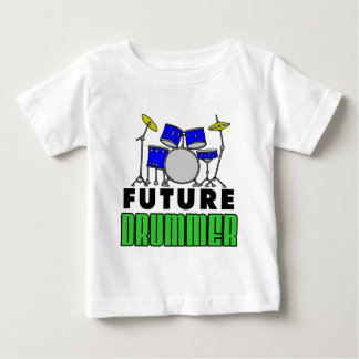 Future Drummer Blue Drum Set Cartoon Baby T-Shirt