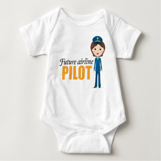 Future female airlane pilot cartoon girl baby baby bodysuit