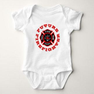 Future Firefighter Maltese Cross Fire Dept Red Baby Bodysuit