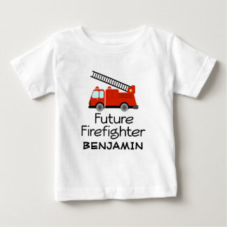 Future Firefighter Personalized Fire Truck Boys Te Baby T-Shirt