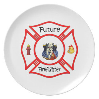 Future Firefighter Red Maltese Dinner Plates