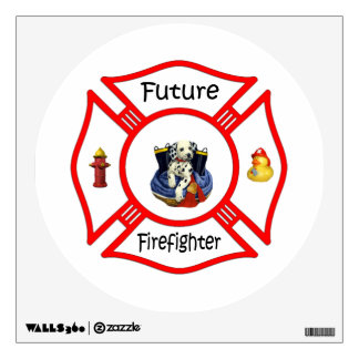 Future Firefighter Red Maltese Wall Sticker