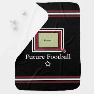 Future Football Star Baby Blanket- Black/Maroon Receiving Blanket