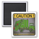 Future Garbage Truck Green Driver Magnet