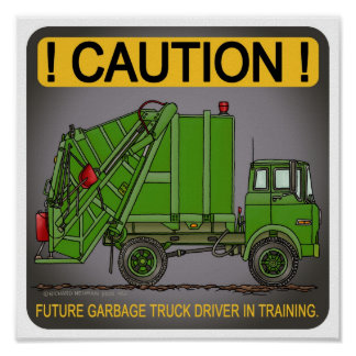 Future Garbage Truck Green Driver Poster Print