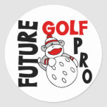 Future Golf Pro Sock Monkey Round Sticker