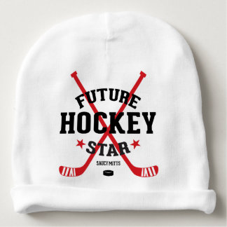 Future Hockey Star Red Hockey Sticks Infant Baby Beanie