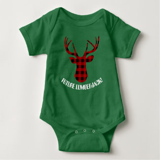 Future Lumberjack pattern deer head baby t-shirt