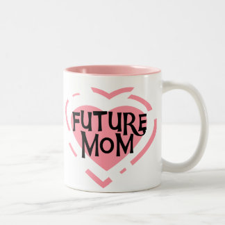 Future Mom Pink Heart Tshirts and Gifts Two-Tone Coffee Mug