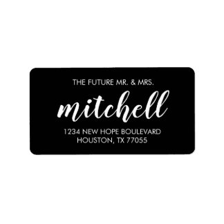 Future Mr. & Mrs. Return Address Labels | Black