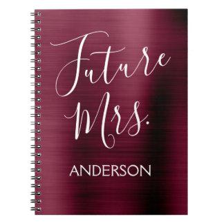 Future Mrs. Burgundy Purple Bridal Shower Planner Notebook
