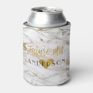 Future Mrs. Gold Foil and White Marble Bride Can Cooler