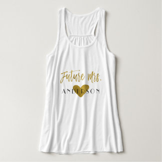 Future Mrs. Gold Foil and White with Heart Tank Top