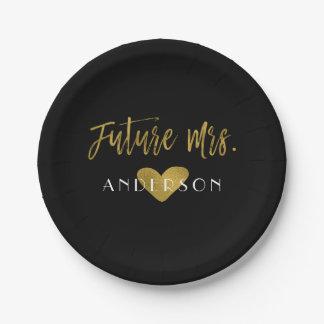 Future Mrs. Gold Foil Bride Party Plates