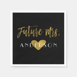 Future Mrs. Gold Foil with Heart Bride Napkins Disposable Napkin