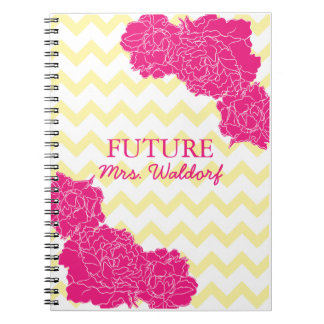 Future Mrs. Peonies and Chevron Notebook