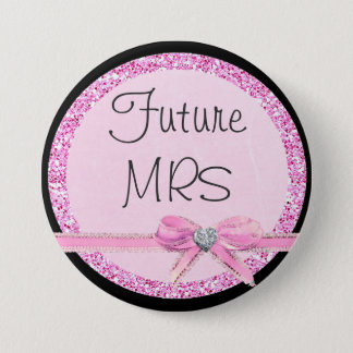 Future Mrs Pink Bow Faux Glitter Button