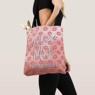 Future Mrs. Rose Gold Blush Pink Sexy Kisses Tote Bag