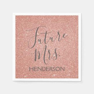Future Mrs. Rose Gold Blush Pink Sparkle Glitter Disposable Napkin