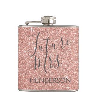 Future Mrs. Rose Gold Blush Pink Sparkle Glitter Hip Flask