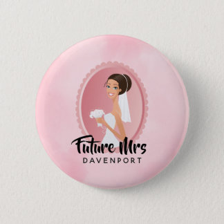 Future Mrs with Bride in Wedding Gown 2 Inch Round Button