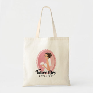 Future Mrs with Bride in Wedding Gown Tote Bag