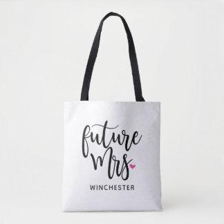 Future Mrs. (Your Name) Black Script Tote Bag