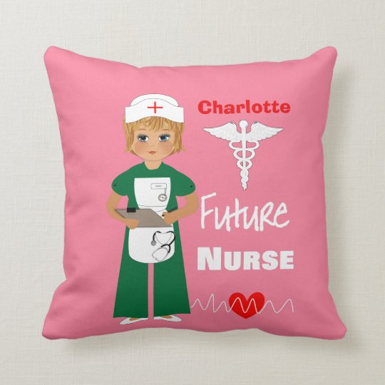Future Nurse Little Girls Cute Personalized Throw Pillow
