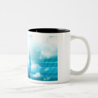 Future of Technology with a Professional Reaching Two-Tone Coffee Mug