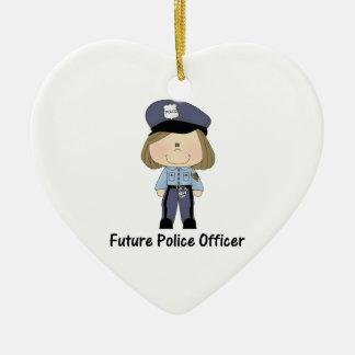 future police officer (girl) ceramic ornament