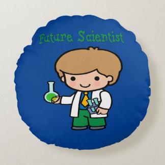 Future Scientist Dark Skin Round Pillow