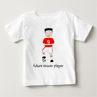 Future Soccer Player Cartoon Character in Red T-shirts
