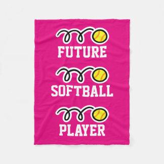 Future softball player fleece blanket for girls