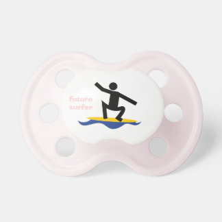 Future surfer, surfer on a surfboard custom pacifier