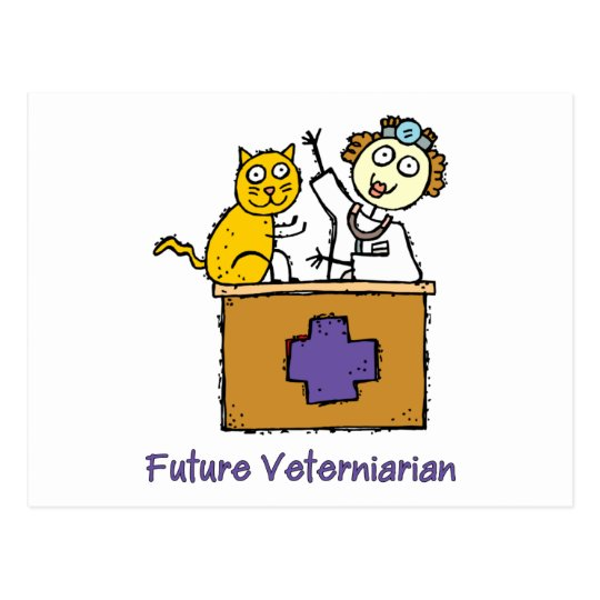 Future Veterinarian - Girl with Cat Postcard