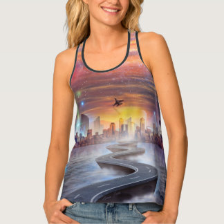FutureVision Women's All-Over Print Racerback Tank Tank Top