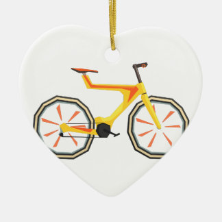 Futurictic Design Yellow Bicycle. Cool Colorful Ceramic Ornament