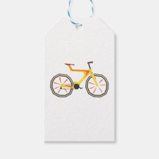 Futurictic Design Yellow Bicycle. Cool Colorful Gift Tags