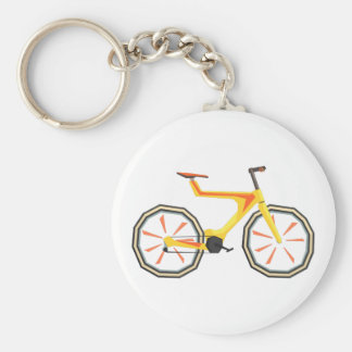 Futurictic Design Yellow Bicycle. Cool Colorful Keychain