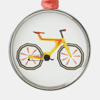 Futurictic Design Yellow Bicycle. Cool Colorful Metal Ornament