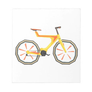 Futurictic Design Yellow Bicycle. Cool Colorful Notepad