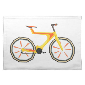 Futurictic Design Yellow Bicycle. Cool Colorful Placemat