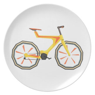 Futurictic Design Yellow Bicycle. Cool Colorful Plate