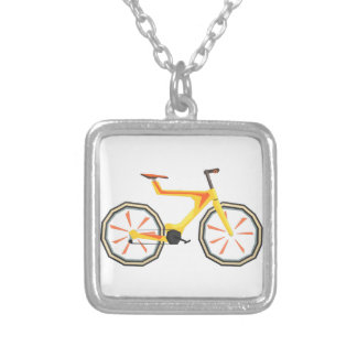 Futurictic Design Yellow Bicycle. Cool Colorful Silver Plated Necklace