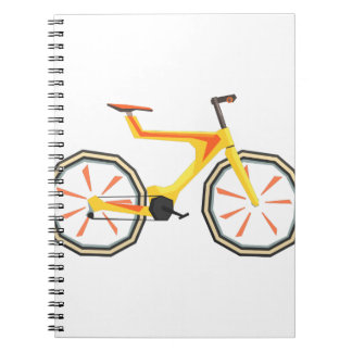Futurictic Design Yellow Bicycle. Cool Colorful Spiral Notebook