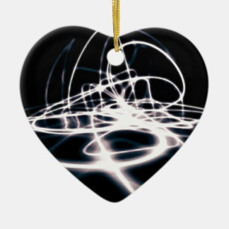 Futuristic Abstract Curves Background Ceramic Heart Ornament