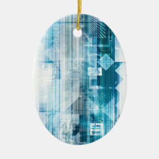 Futuristic Background with Technology Abstract Ceramic Oval Ornament
