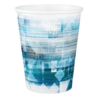 Futuristic Background with Technology Abstract Paper Cup