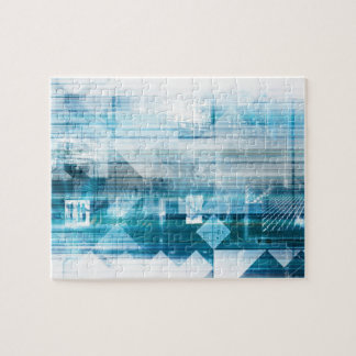 Futuristic Background with Technology Abstract Puzzle