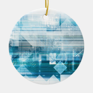 Futuristic Background with Technology Abstract Round Ceramic Ornament